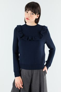 Pullover with ruches oh the yoke