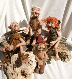 4 trolls polymer clay sculptures