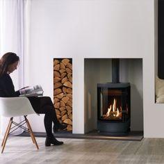 Home Decorators Collection Vanity Gas Fire Stove, Gas Stove Fireplace, Home Fireplace, Fireplace Design, Gas Log Burner, Modern Wood Burning Stoves, Nordic Living Room, Living Rooms, Rustic Basement