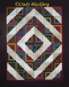 "Log Cabin quilt made with the ""Log Cabin"" stamp available at www.cindyblackberg.com"