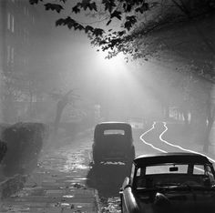A photo by John Gay. One of my favorite artists, ghost car tracks Black And White Posters, Black White Art, English Heritage, London Photos, London Street, Artist Names, Street Photography, Cool Photos, Illustration Art