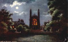 King's College Chapel, Cambridge in the moonlight from the Backs