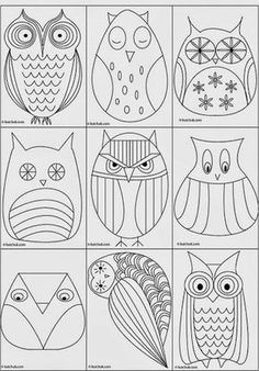 Great owl templates ideas for painted rocks/stonesGreat owl templates Look at the OWLS! I am collecting OWL patterns for use later.Owl coloring pages - Embroidery ideasCreative Owl Designs - Fun drawing ideas for elementary art lessons.