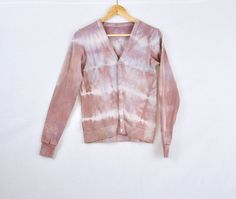 Rose and Blue Striped Hand Dyed Cardigan Button Up - Sample Sale