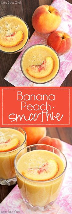 Smoothie Recipes Easy Banana Peach Smoothie - One of our favorite things to make with peaches is a quick and easy peach smoothie! This smoothie is delicious! Yummy Smoothies, Juice Smoothie, Breakfast Smoothies, Smoothie Drinks, Yummy Drinks, Healthy Drinks, Yummy Food, Healthy Recipes, Tasty