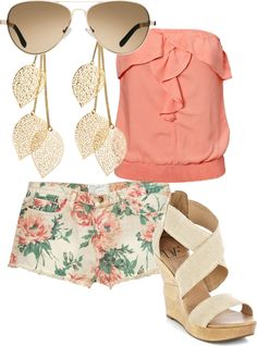 outfit: peach strapless singlet, white / multicoloured floral-printed denim minishorts, brown sunglasses, gold leaf dangly earrings, cream sandal wedges