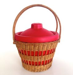 Vintage 1950s Picnic Basket Cooler by VintageCommon on Etsy