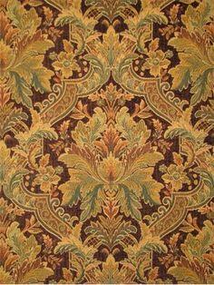 Turquoise /& Orange on Chocolate Drapery Upholstery Fabric Chenille Damask