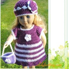 PATTERN – Crocheted Strip Doll Dress « Lilyknitting – Patterns and Crochet