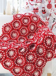 Christmas Candy Afghan designed by Diane Poellot in Red Heart Super Saver for Annie's Christmas Special 2015, on sale now