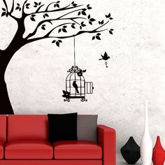 Cheap decor wall sticker, Buy Quality stickers button directly from China decorative stickers for cars Suppliers:   Huge White Tree Wall Decal Nursery Tree and Birds Wall Art Baby Kids Room Wall Sticker Nature Wall Decor 210*213cmUSD