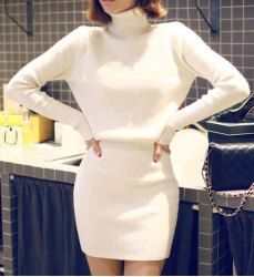 Sweet Turtle Neck Long Sleeve Solid Color Knitted Women's Dress