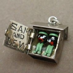 Sam & Lew Outhouse Charm Vintage Sterling Silver 2 Men Inside Door Opens: