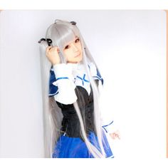 100CM Beautiful Julie Sigtuna Absolute Duo Long Straight Anime hair Cosplay Wig Silver Grey Double Long Straight Ponytail Wigs