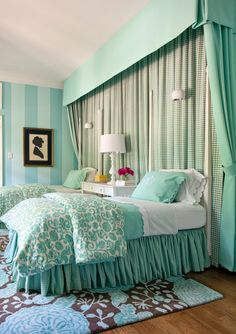 Mint pastel Bed treatments over twin beds in kids room. Designed by Tobi Fairley, photos by Nancy Nolan.
