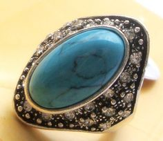 New fashion turquoise crystal ring women's gift jewelry ssjz16lan