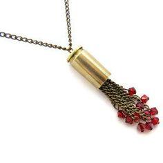 Red Swarovski Crystal Bullet Necklace  http://www.releasemecreations.com