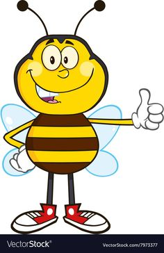 Bumble Bee Cartoon Giving the Thumbs Up. Download a Free Preview or High Quality Adobe Illustrator Ai, EPS, PDF and High Resolution JPEG versions.