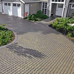 Paving materials that incorporate small gaps allow water to seep through into quick-draining gravel layers underneath. This keeps the top surface dry, eliminates runoff, and lets water in the gravel layers gradually sink into the soil. Pervious Pavers, Pervious Concrete, Paver Walkway, Concrete Driveways, Driveway Paving, Walkways, Driveway Apron, Front Walkway, Landscape Drainage