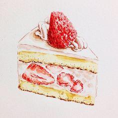 好餓好餓(等晚餐) #手絵 #cake #illustration #paint #dilicious #蛋糕 #草莓 #food #draw #doodle #dessert #イラスト #下午茶 #watercolor