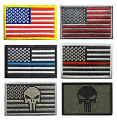 2 Pack USA Flag Tactical Patch Hook /& Loop American Military Uniform Blue Silver