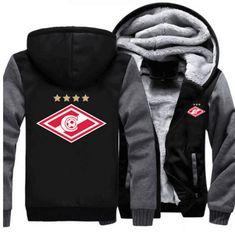 2017 USA Size Men Hoodies Spartak Moscow Logo Russian Premier League Thicken Hoodie Coat Jacket Zipper Sweatshirts