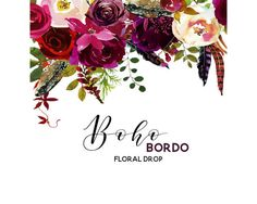 Boho Bordo Watercolor Clipart Burgundy White Red Flowers Deer