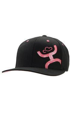 HOOey® Black with Pink Paisley Logo Flat Bill Flex Fit Cap   Cavender's Boot City