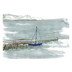 Lily Niauri #sea #sail #boat #dock #watercolor