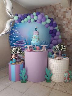 Mermaid Birthday Cakes, Little Mermaid Birthday, Little Mermaid Parties, Mermaid Party Decorations, Birthday Party Decorations, 4th Birthday Parties, Birthday Balloons, First Birthdays, Barbie