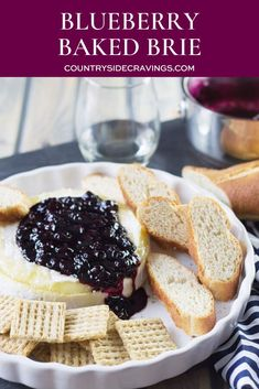This Blueberry Baked Brie is a sweet and savory appetizer that is also really quick and easy! Brie Cheese Recipes, Baked Brie Recipes, Appetizer Recipes, Dessert Recipes, Appetizers, Snack Recipes, Healthy Recipes, Cheese And Wine Tasting, Wine And Cheese Party
