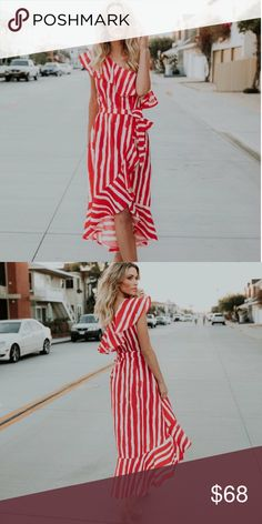 """🆕Elaina Red & Ivory Stripe Off the Shoulder Dress New Boutique Item. The Elaina Dress features a one shoulder silhouette, striped print, ruffle details, tie at the waist, contrasting hemline, hidden side zipper. 100% Poly Length: 44"""" measured from small, chest to hemline  Color: Red & Ivory ✖️NO Trades, NO Offers  Spring outfit  Summer outfit  Cute outfit  Cocktail Dress Party Dress Summer Dress Style Fashion Dresses Maxi"""