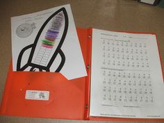 Instead of using a ton of paper for Rocket Math, I copy problems on white cardstock and the answers on colored cardstock. Then, I slide the problems and answers into plastic page protectors. The kids write their answers with the ultra fine Expo markers. Math For Kids, Fun Math, Math Activities, Math Stations, Math Centers, Rocket Math, Math Fact Practice, Mastering Math, 1st Grade Math