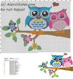 Owls in love free cross stitch pattern