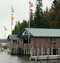Boathouses in Cedarville Bay, near Viking Boat Harbor.