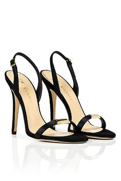 Black Suede Slingback Sandals by VIONNET | Luxury fashion online | STYLEBOP.com