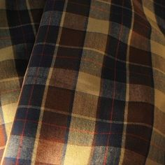 Navy & beige plaid brushed cotton