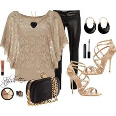 Shinning black pants, light brown gown, high heel sandals, makeup accessories and hand bag for ladies