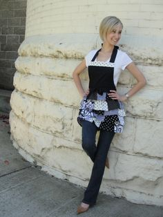 Black/White patchwork ruffled apron www.etsy.com/shop/overthetopaprons