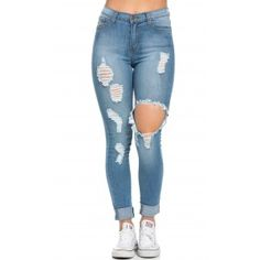 97af94ca66b High Waisted Distressed Skinny Jeans in Blue (Plus Sizes Available)