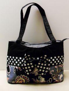 6d5593683a1e Black and white Polka dot and Paisley print Handbag
