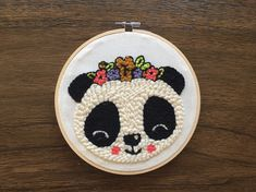 """Lana Land on Instagram: """"Y como el panda con sombrero se sentía muy solo, le hice una compañera ⠀ .⠀⠀ .⠀⠀ .⠀⠀ .⠀⠀ .⠀⠀ .⠀⠀ As the panda with a hat was lonely, I made…"""" Embroidery Hoop Art, Hand Embroidery Designs, Beaded Embroidery, Cross Stitch Embroidery, Perler Beads, Gold Purchase, Tapestry Weaving, Punch Needle, Yarn Colors"""