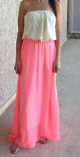 NEW Neon Pink Strapless Maxi Dress / Size M / Boutique Brand