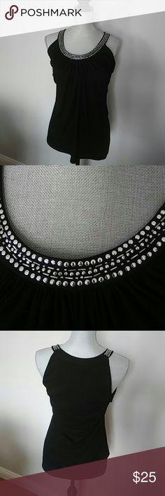 Classy black top White House Black Market top with stud detail White House Black Market Tops Camisoles