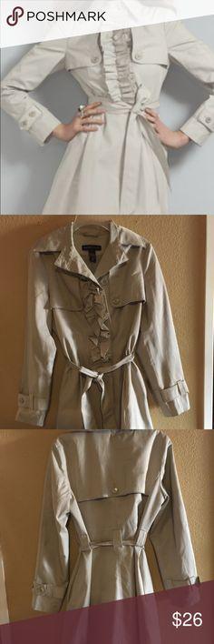 NY&CO trench coat with ruffles NY&CO trench coat kaki color with ruffles and pockets New York and Company Jackets & Coats Trench Coats