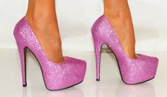 Ladies Womens Purple Pink Stiletto Glitter Sparkly Concealed Platforms High Heels Court Prom party Shoes 3-8