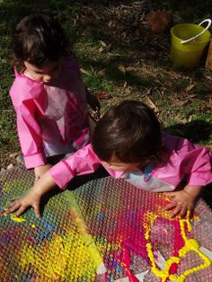 Mummy Musings and Mayhem: Easy ideas for Toddler Messy Play!  Infants and up. FA.1.50 Delight in touch and feel of materials rather than what is being produced.  FA.1.54 Paint with fingers, draw with crayons, and mold with dough.