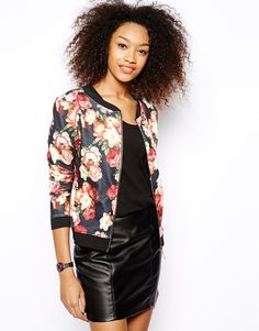 Wear floral bomber jacket with a black pencil skirt or work-appropriate black dress
