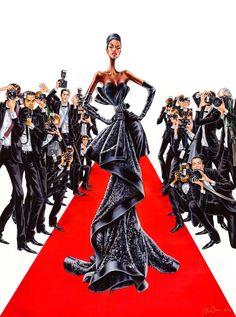 Ilustration by Arturo Elena Red Carpet Walk Fashion Design Portfolio, Fashion Design Drawings, Fashion Sketches, Drawing Fashion, Fashion Sketch Template, Fashion Silhouette, Black Artwork, Dress Sketches, Fashion Figures