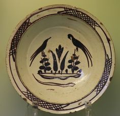 Canakkale Plate - Design with two Birds at the Center Turkish Pattern, Ottoman Turks, Two Birds, Ceramic Decor, Pottery Bowls, Bird Design, Ceramic Painting, Stoneware, Decorative Plates